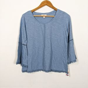 Style & Co Blue Crochet Flared Sleeve Top Petite